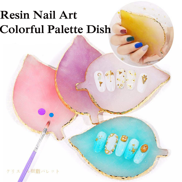 Nail art painting palette pigment holder resin stone agate mix