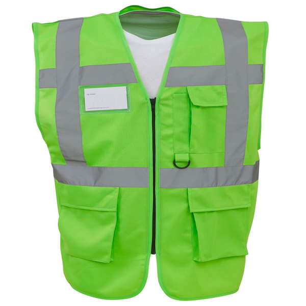 Yoko hi-vis premium executive/manager waistcoat / jacket lime ut