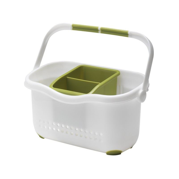 Kitchen sink side organiser plastic caddy white and green