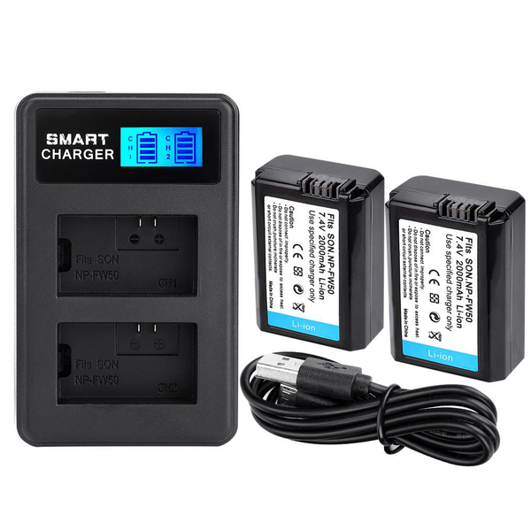 Np-fw50 battery charger dual slot usb charging with lcd scre
