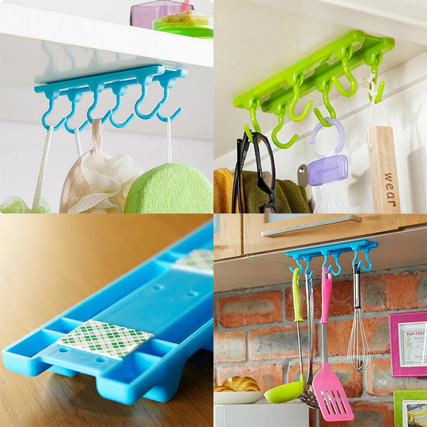 6 hooks kitchen rack ceiling wall cabinet hanging rod storage pa