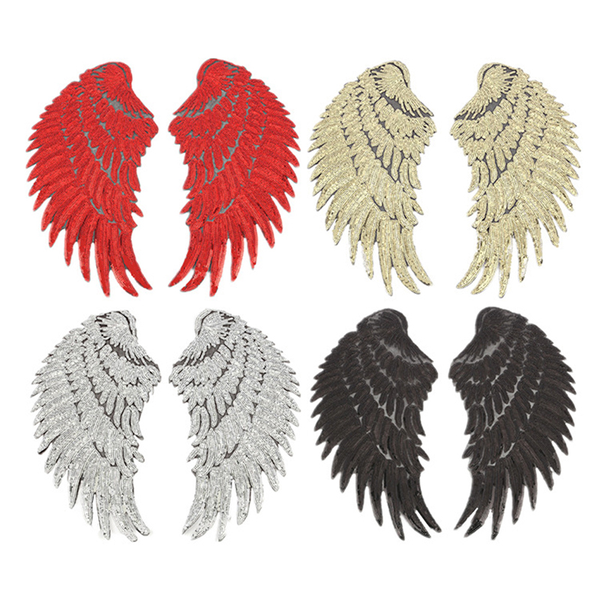 1pair wings angel sequins iron-on embroidered patch applique cra