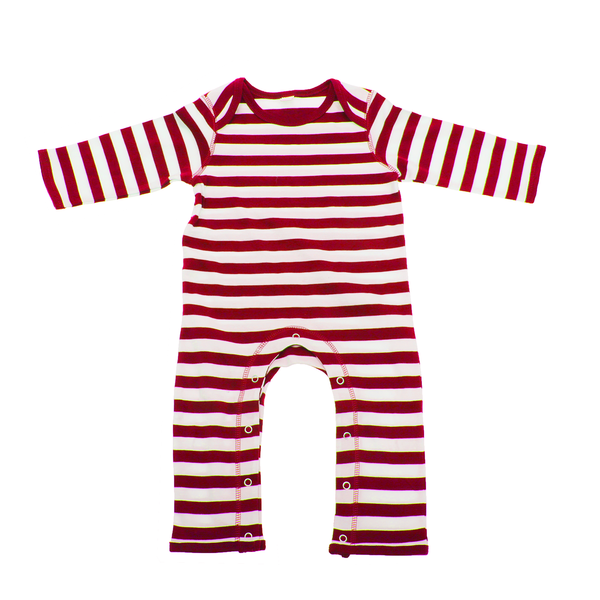 Unbranded Babybugz baby stripy rompasuit / baby and toddlerwear red/white