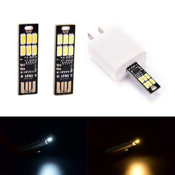1pc portable mini usb power 6 led lamp touch dimmer warm/pure wh