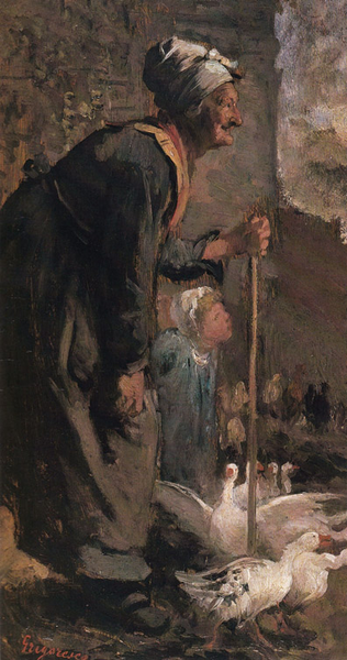 Old Woman with Geese,Nicolae Grigorescu,66x34cm