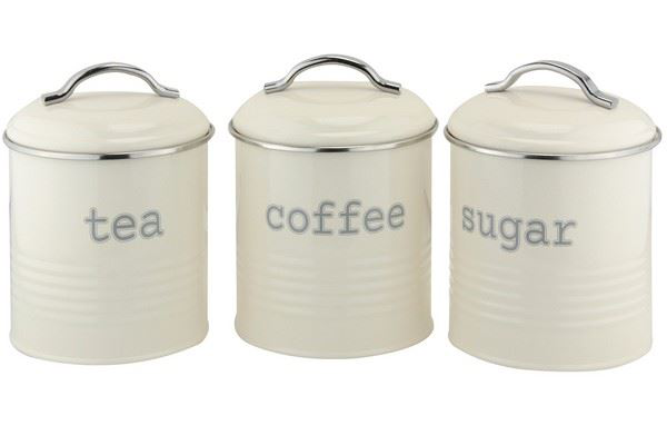 CANISTER ROUND CREAM SET OF 3 TEA COFFEE SUGAR FOR YOUR KITCHEN