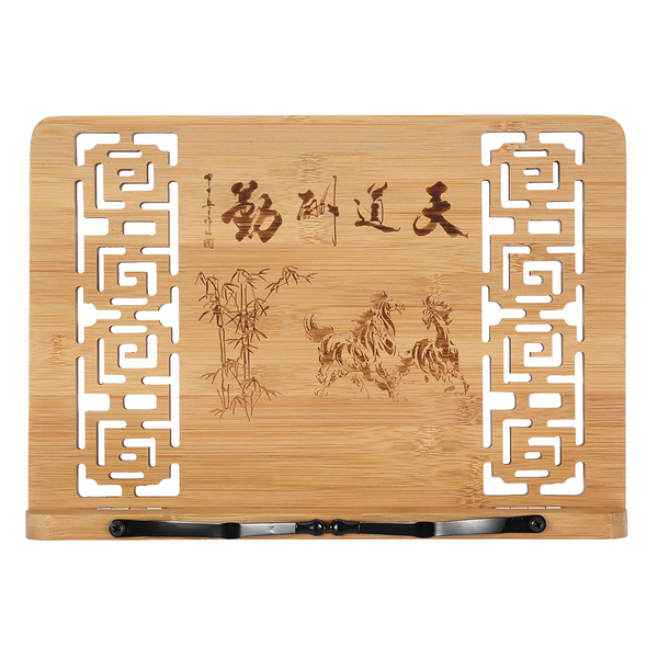 Hollow carved adjustable bamboo book stand reading textbook