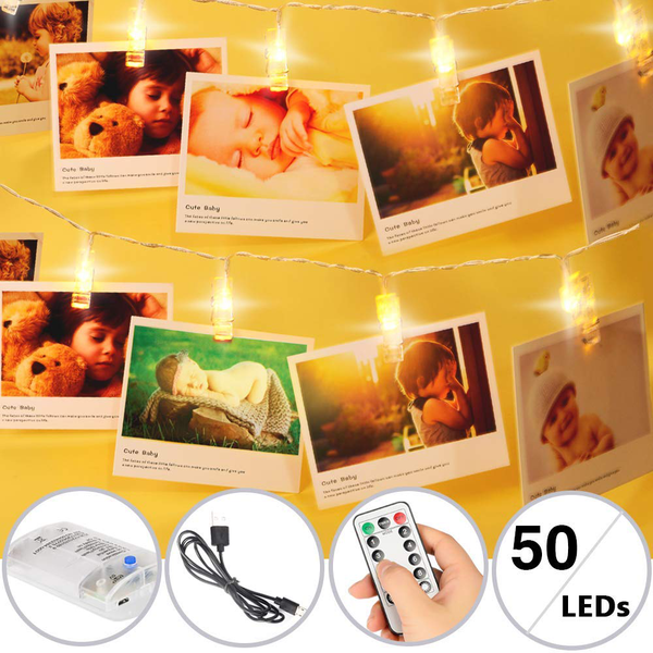 Tboonor photo light chain 50 leds 5 m led photo light chain remo