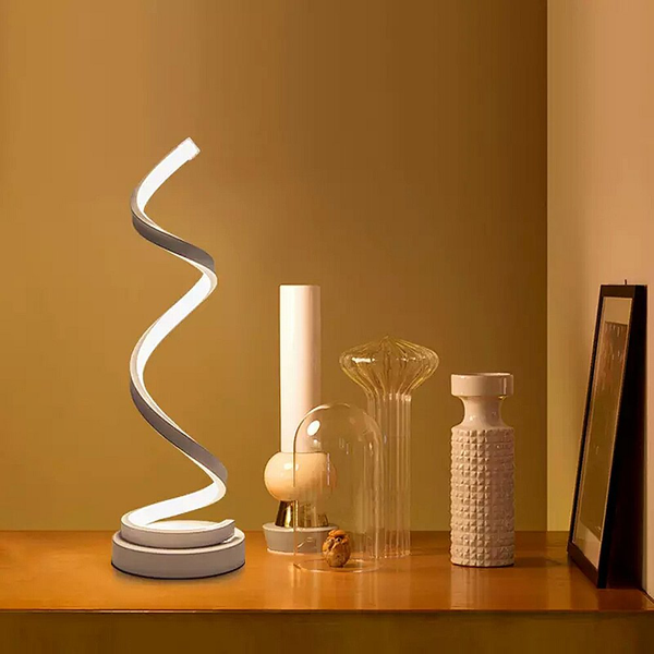 Spiral led table lamp modern dimmable desk lamps for bedroom