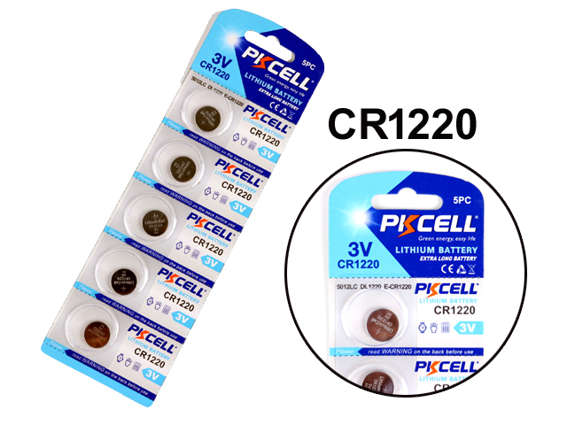 Cr1220 5-pack lithium batterier cr 1220 3v pkcell batteri