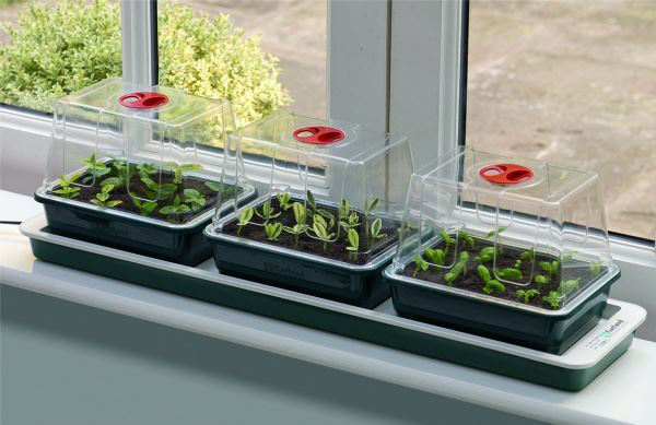 Set of 3 High Dome Electric Windowsill Propagator Home Gardening