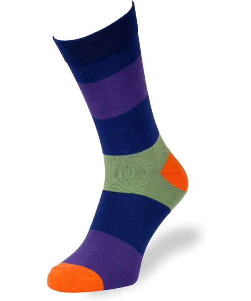 Cai Socks Day Collection, Elis Stripe 5 - Navy Leaf lila
