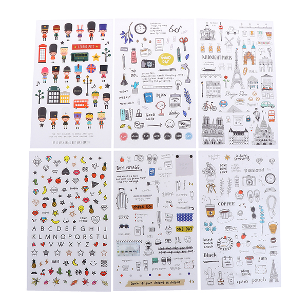 6 pcs/pack european travel paper sticker diary scrapbooking labe