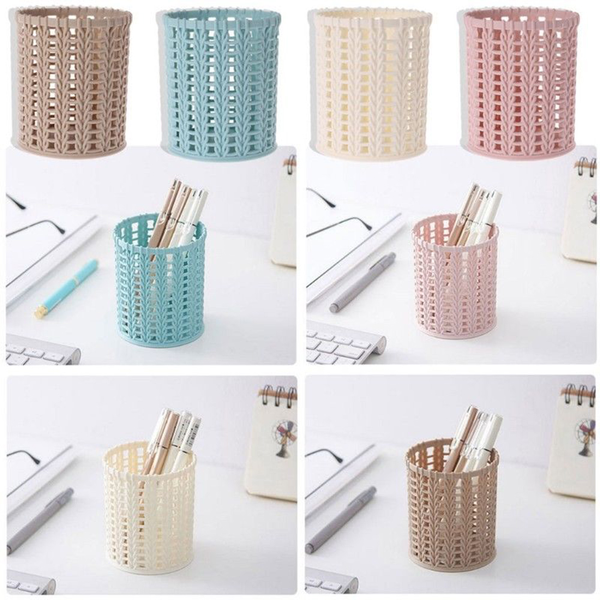 Pencil holder cylinder hollow rattan basket brush container