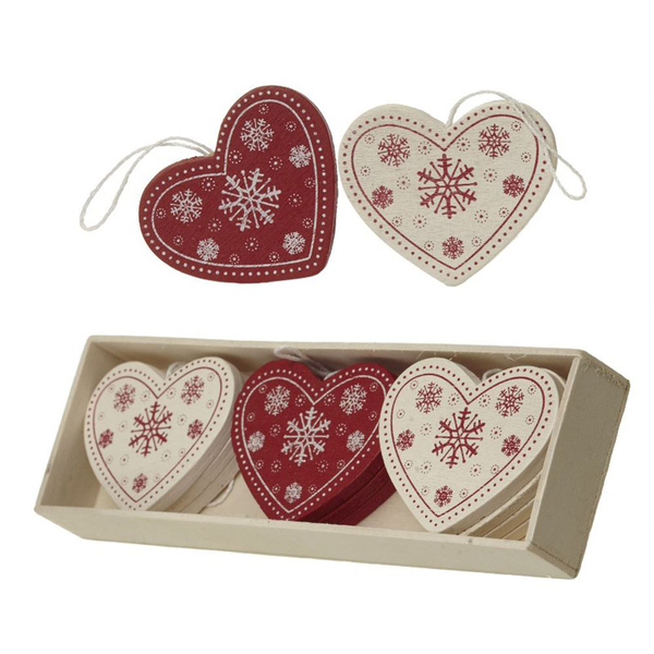 Wooden red and cream hearts – box of 12 christmas tree decora…