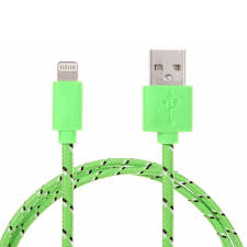 Braided USB kabelladdare för iPhone 5 grön