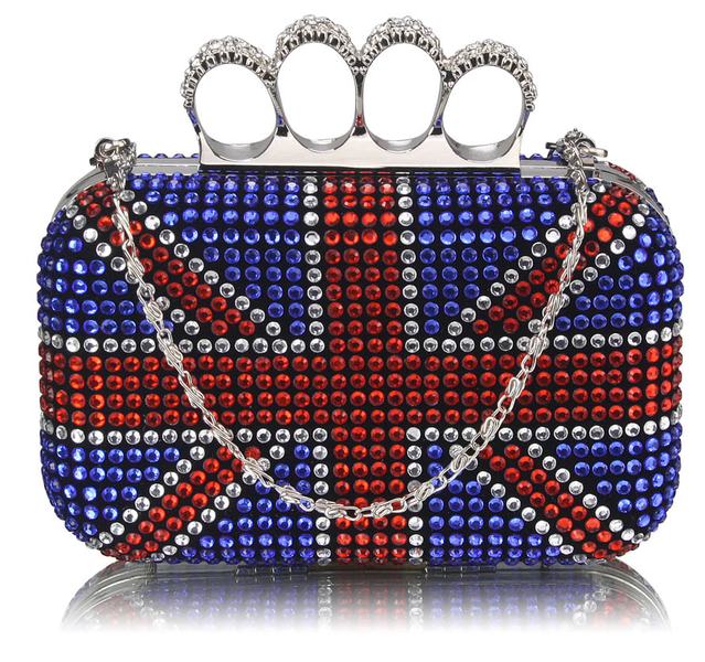 Union Jack Knuckle Rings Clutch With Crystal Decoration