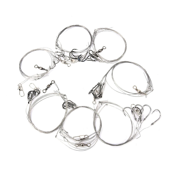 3bag stainless steel fishing rigs wire leader 5string hook anti-