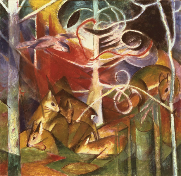 Deer in the Forest i,Franz Marc,50x50cm Marc,50x50cm Marc,50x50cm 0f0347