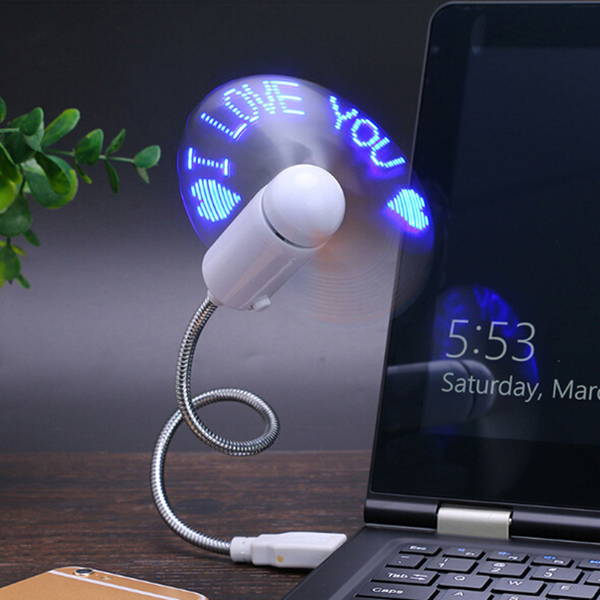 Mini usb fan gadget with led light display for laptop flash word