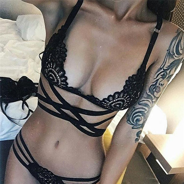 Sexy women lingerie hollow out bandage lace sexy underwear suit