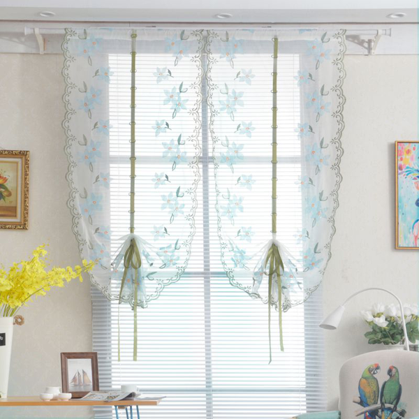 Pastoral tulle window roman curtain embroidered sheer