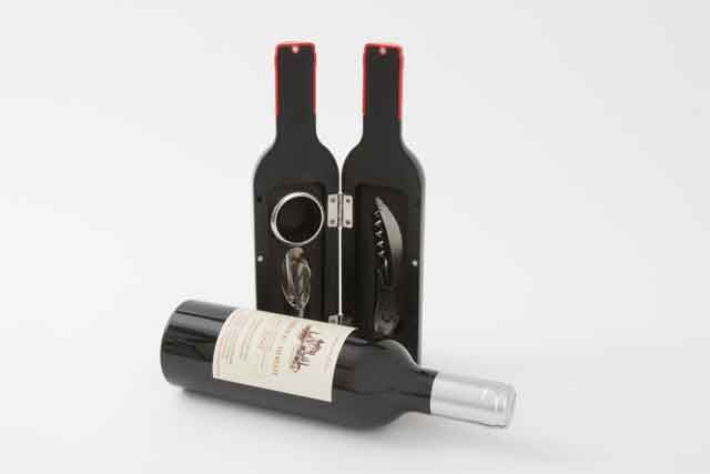 Small wine Bottle Shape Gift Set with 3 Professional Accessories