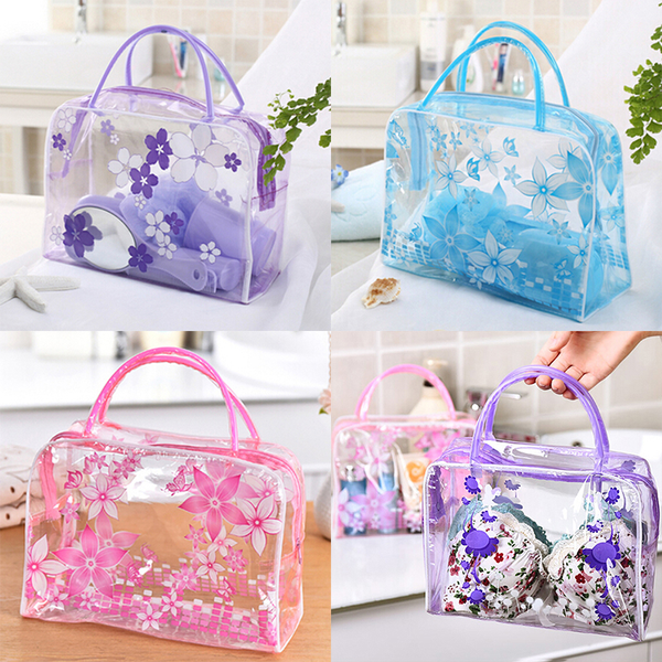 Transparent pvc flower waterproof makeup toiletry travel wash co
