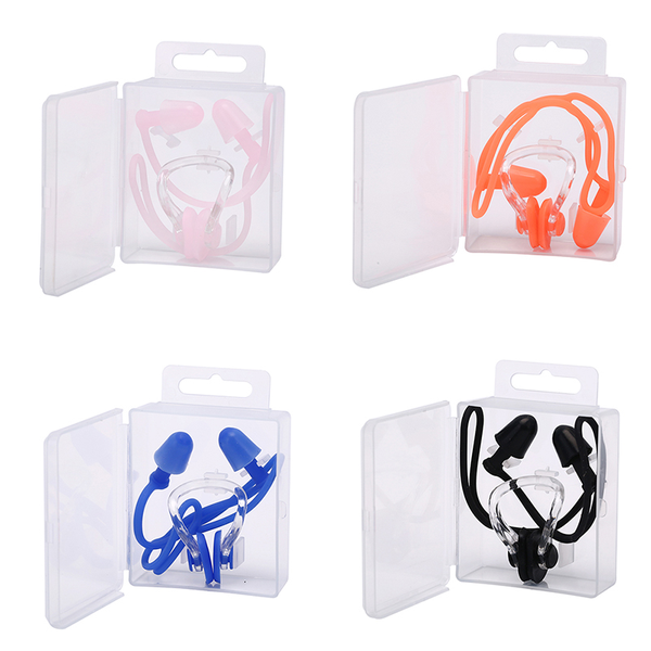 Waterproof soft swimming earplugs nose clip case protective wate