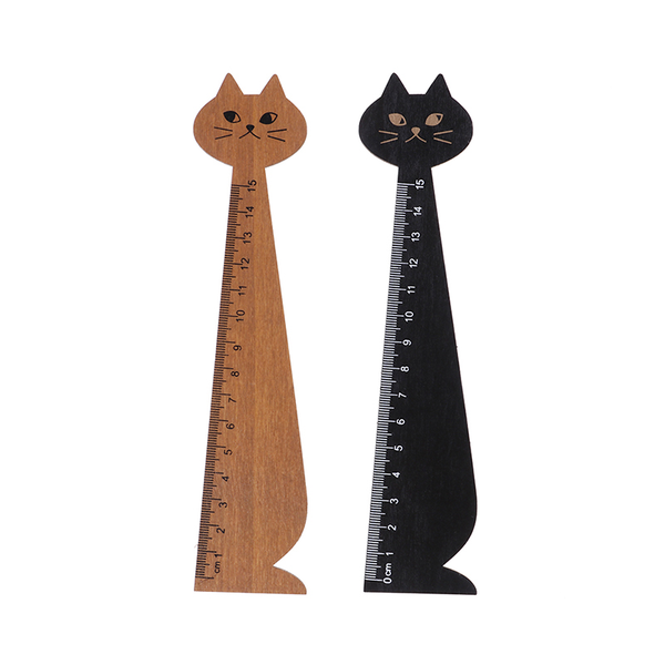 2piece new cat straight ruler wooden kawaii tools stationery dra