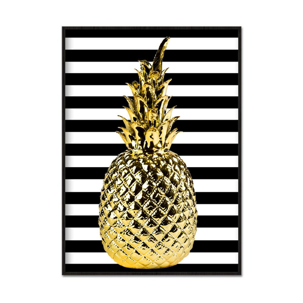 Poster A4 21x30cm Golden Pineapple Stripes