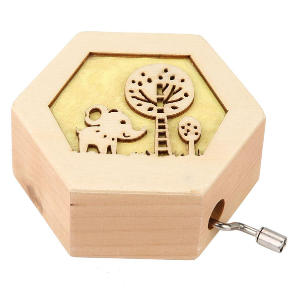 Classic carved wooden music box hand crank musical box (elep