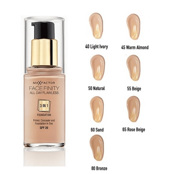 Max factor finity all day flawless 3-in-1 foundation spf 20-sand