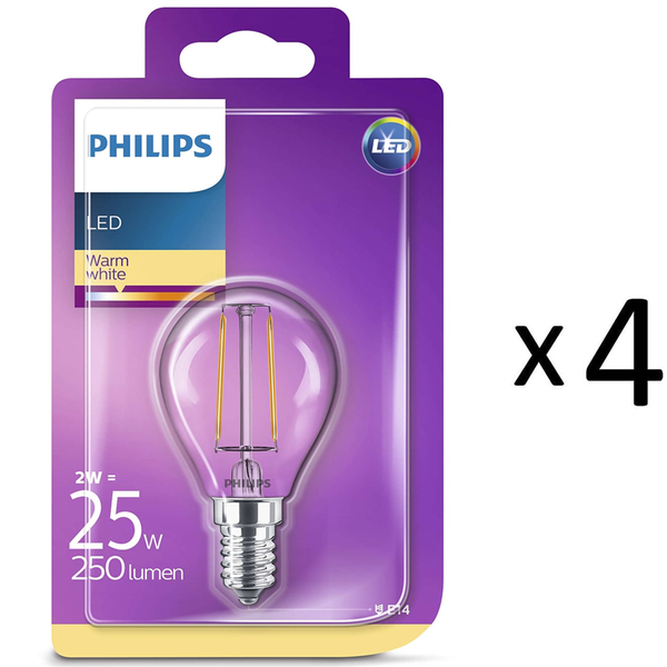 Philips LED Filament E14 25W Klot 4st (929001238658-4)