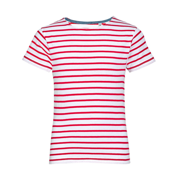 Unbranded Sols childrens/kids miles striped short sleeve t-shirt white/red
