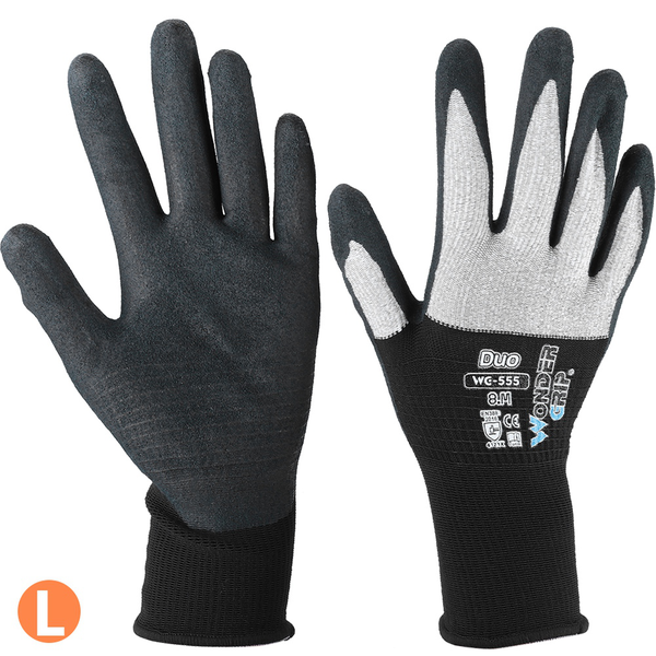 Double color nylon fiber labor working gloves nitrile coated