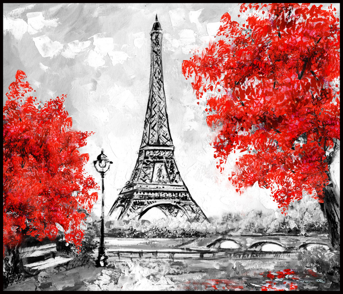 Poster Illustration PAris, 100x100 cm