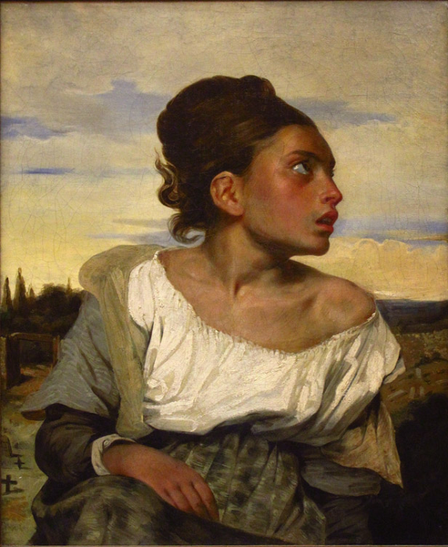 Orphan Girl at the Cemetery,Eugene Delacroix,66x54cm