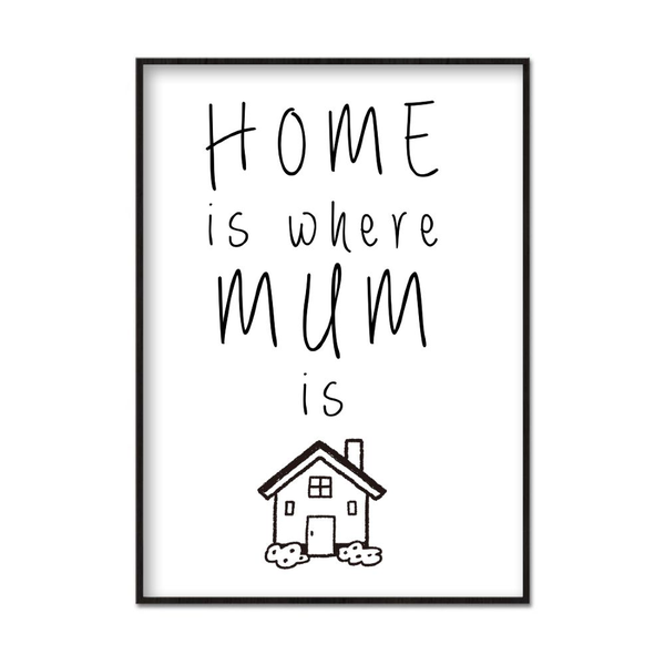 Poster A4 21x30cm Home Is Where Mum Is