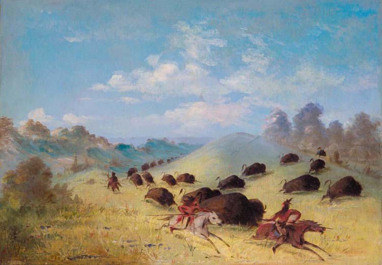 Comanche Indians Chasing Buffalo with,Paul Cezanne,49.8x70.1cm