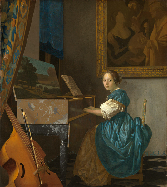 Young Woman Seated at a Virginal,Jan Vermeer,51.5x45.5cm