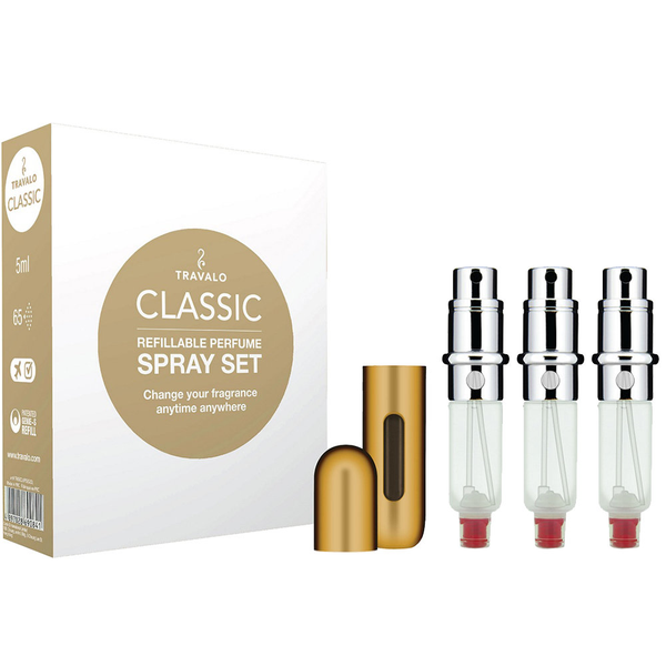 Travalo classic hd refillable perfume spray set of 3 gold