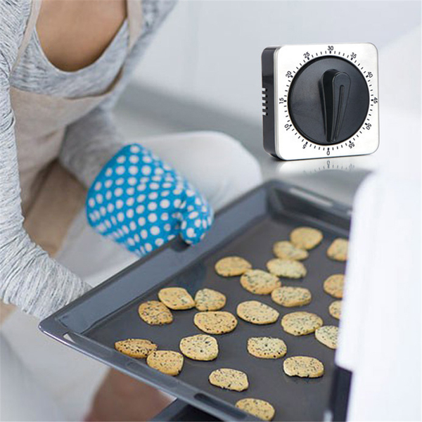Mechanical square kitchen timer stainless steel rotating alarm