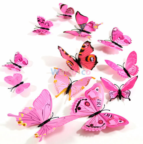 12 pcs 3D Butterfly Wall Stickers Art Decal Home Room Decoration