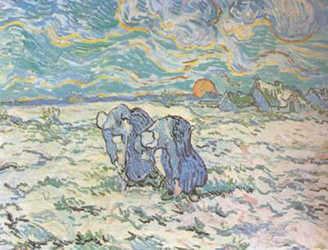 Two Peasant Women Digging in Field with Snow,Vincent Van Gogh,50