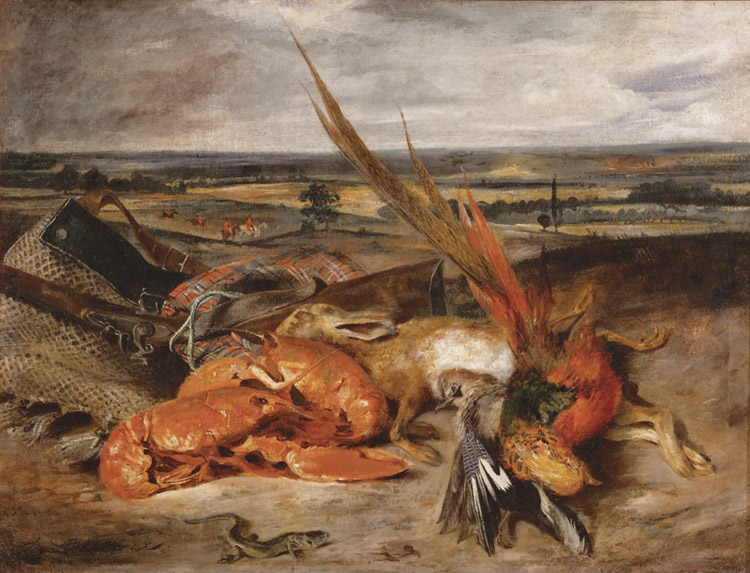 Still Life with a Lobster and Trophies,Eugene Delacroix,50x40cm