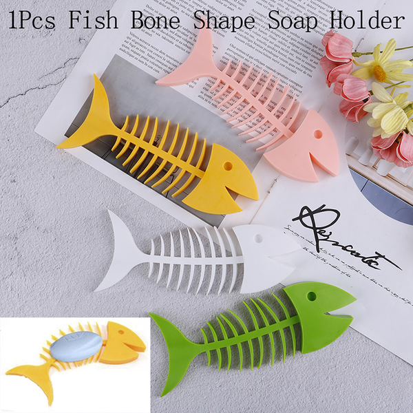 Fish bone soap box holder silicone dish box saver storage contai