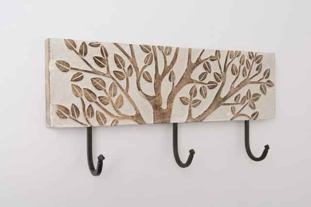 Wooden Vit Blooming tree 3 hooks for wall with Hanging Hooks