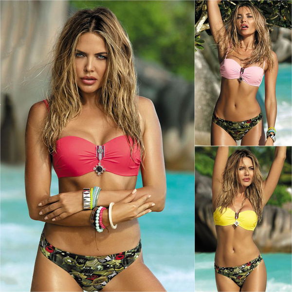 Women camouflage printed two piece swimsuit push