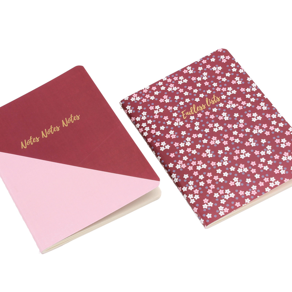 Notes Notes Notes and Endless Lists Notebooks Set of 2